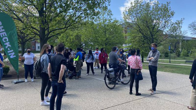 Students, faculty and staff gathered to walk in solidary with the Asian American and Pacific...