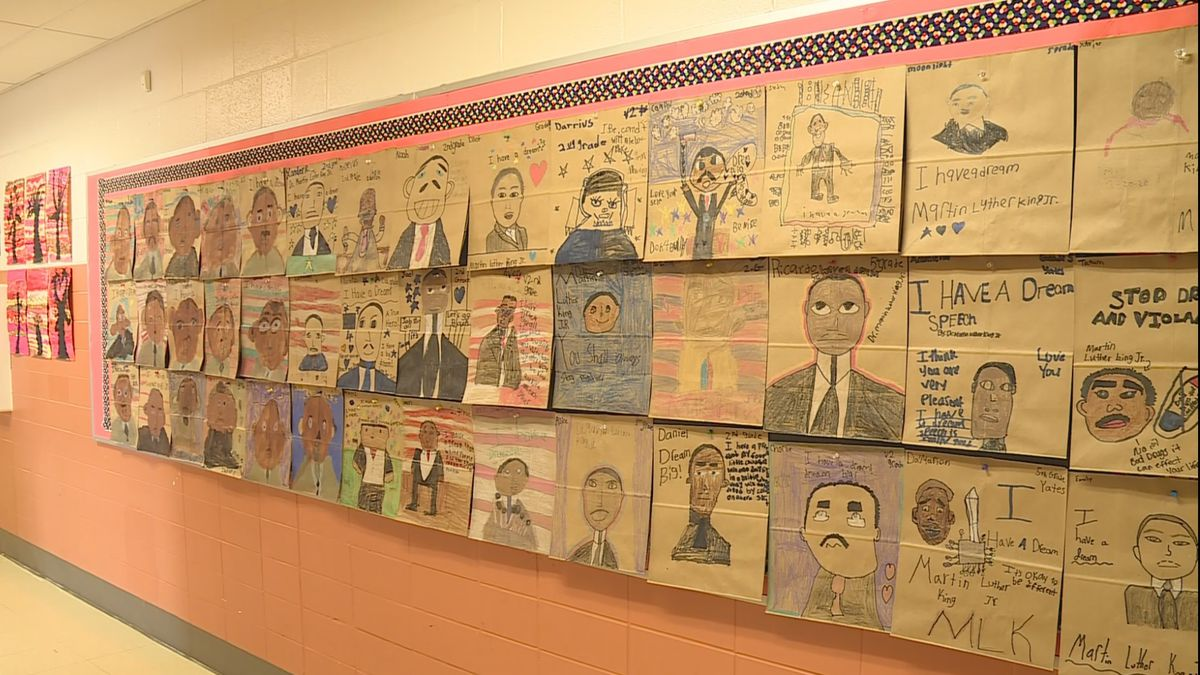 Students in Lexington drew Dr. Martin Luther King, Jr. onto paper bags ahead of MLK Day. (WKYT)