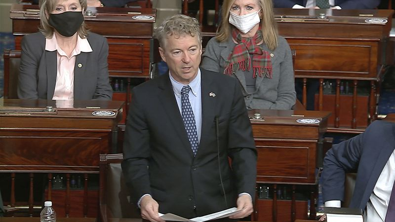 In this image from video, Sen. Rand Paul, R-Ky., makes a motion that the impeachment trial...
