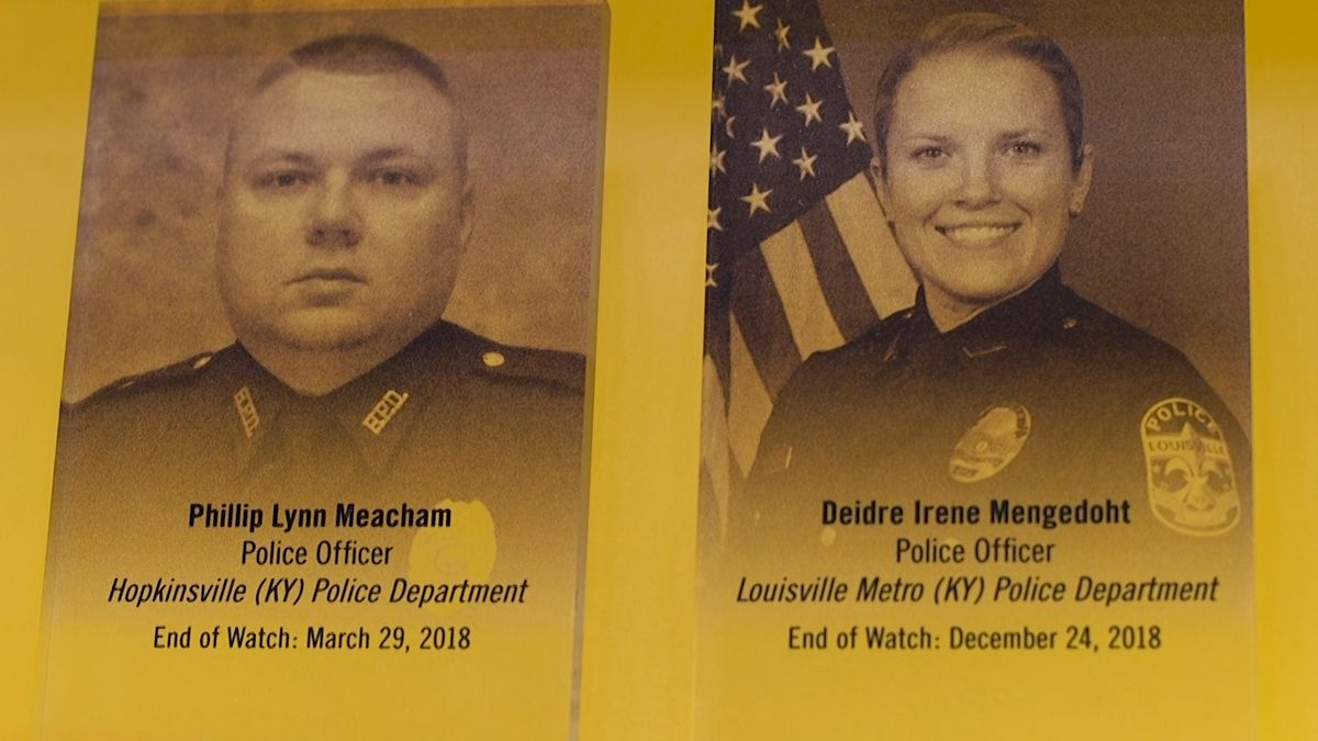Fallen heroes, Hopkinsville Officer Phillip Meacham, and Louisville Detective Deidre Mengedoht, honored on this hall of remembrance at the national law enforcement museum that honors fallen officers. (Source: GrayDC)