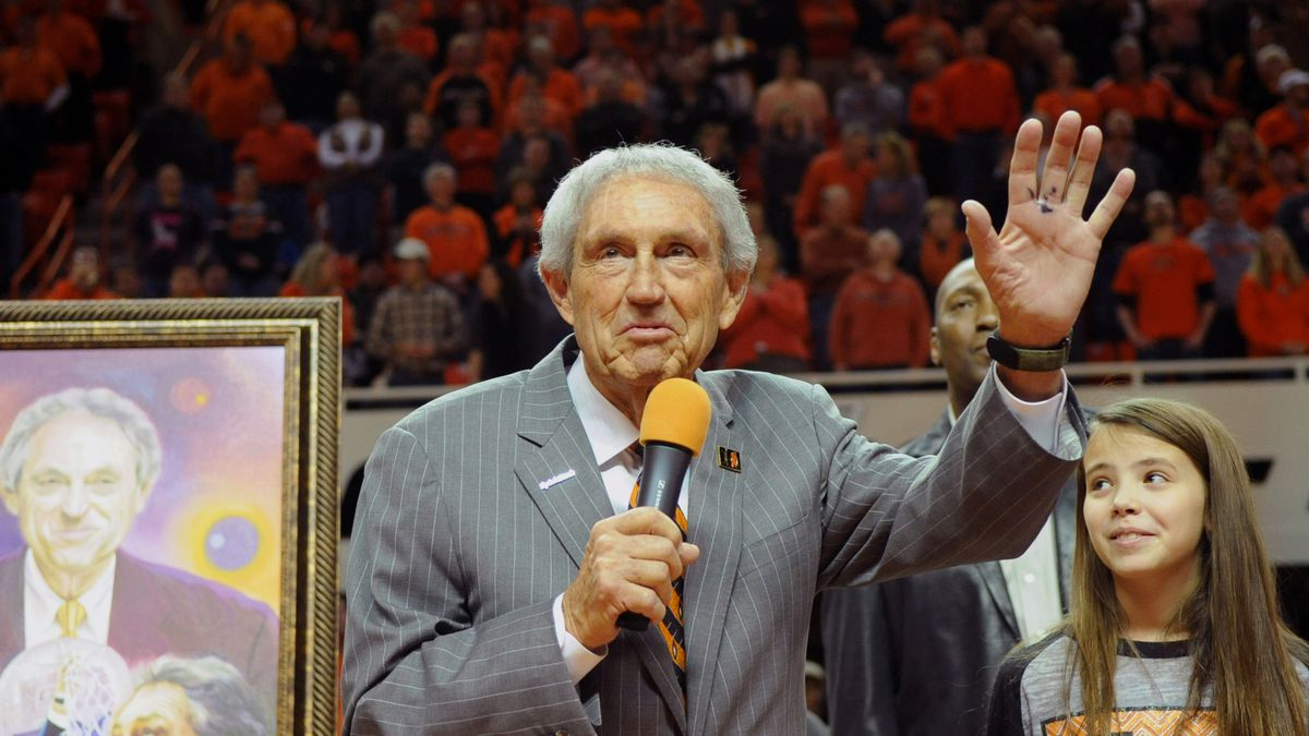 Eddie Sutton, head coach at Oklahoma State between 1990-2006, is honored at half time of the Oklahoma State basketball game against Iowa State in Stillwater, Okla., Monday, Feb. 3, 2014. (AP Photo/Brody Schmidt)