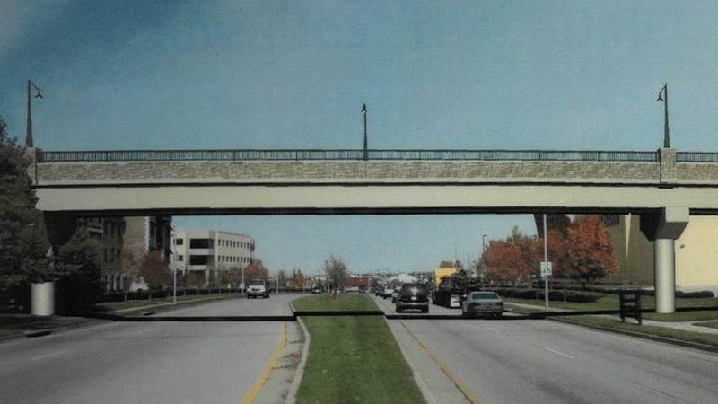 A rendering of what the trail bridge will look like when finished.