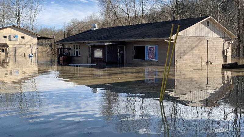 God's Outreach Food Bank, like so many other places in Estill County, is cut off by flood waters.