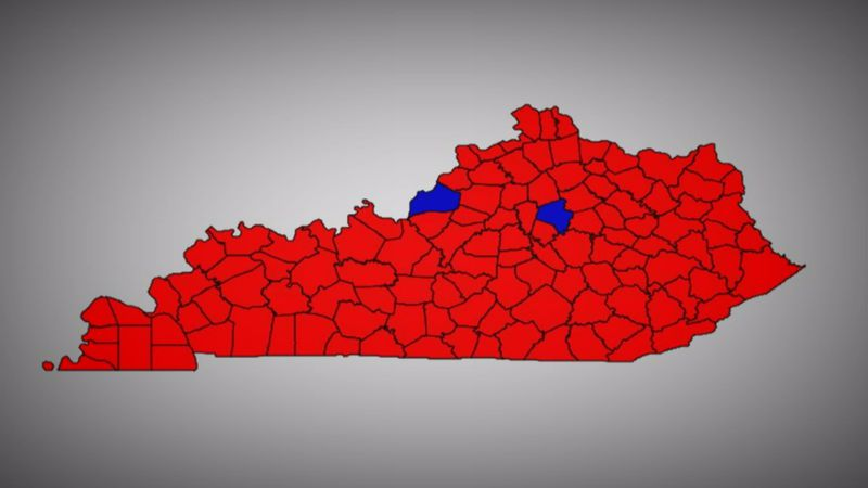 Kentucky's electoral map from the 2016 presidential race.