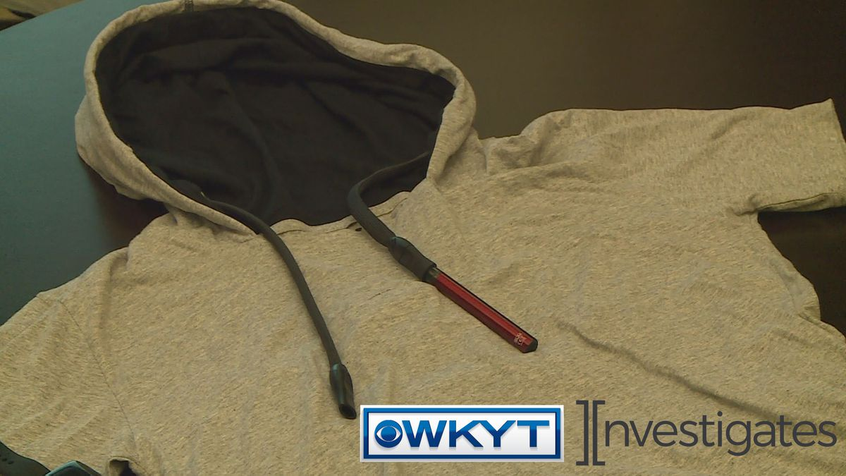 Ben Chandler showed WKYT's Miranda Combs a sweatshirt with a drawstring that doubles as a vaping device. He says this type of marketing is obviously for young people. (WKYT)