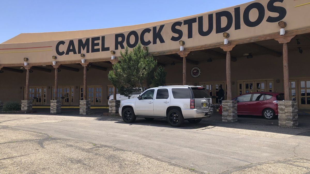 This June 25, 2020 photo shows the exterior of Camel Rock Studios, a new film studio owned by Tesuque Pueblo of New Mexico, in Santa Fe, N.M. The Native American tribe in northern New Mexico has opened up the movie studio at the site of a former casino aimed at attracting big productions in what is believed to be a first by a Indigenous tribal government in the U.S. (AP Photo/ Russell Contreras)
