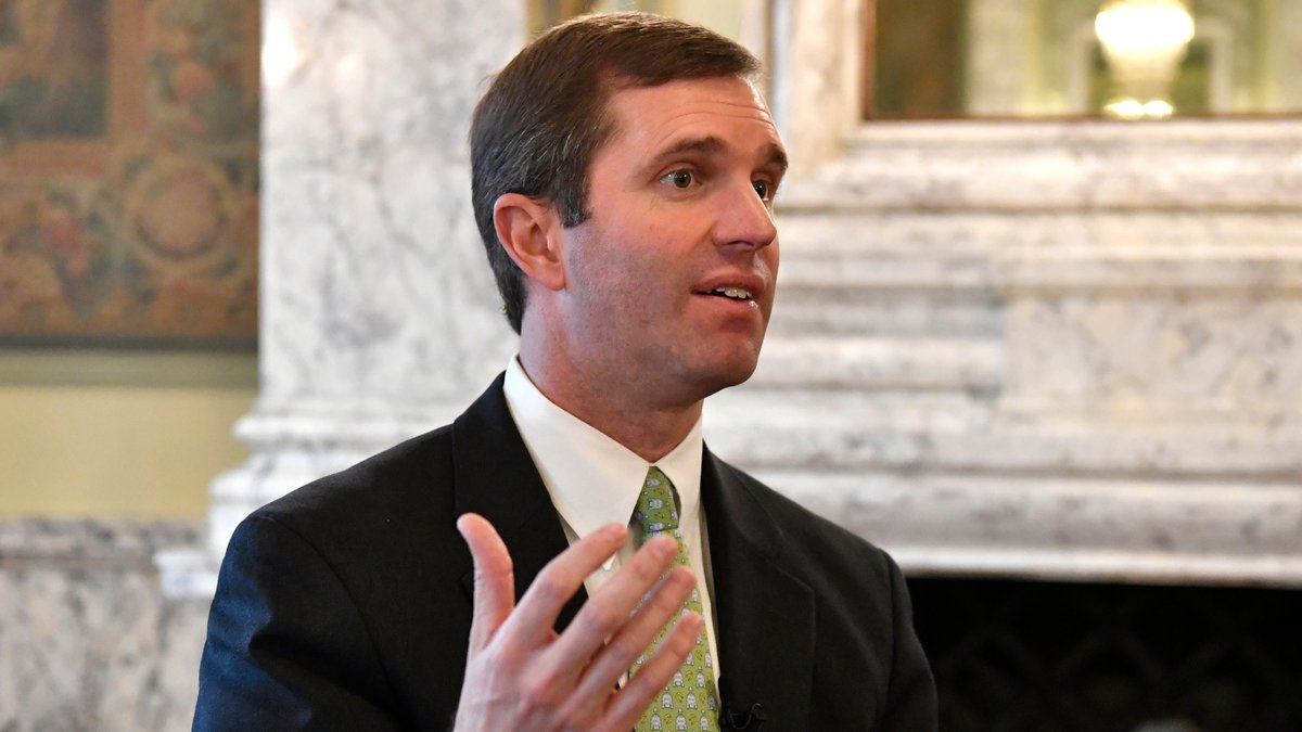 Kentucky Gov.-elect Andy Beshear answers questions during an interview in the State Reception...