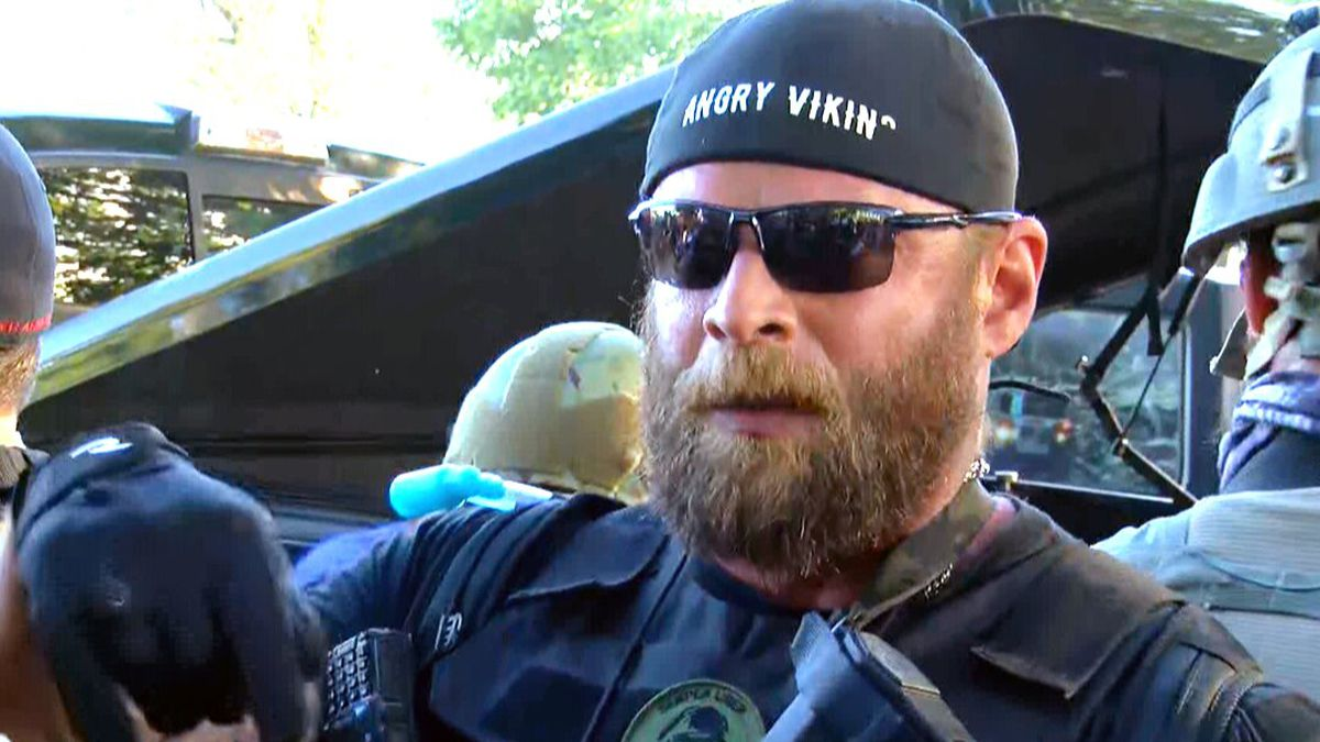 "Dylan Stevens, who calls himself ""The Angry Viking,"" said his supporters are pro-gun and pro-police United States ""patriots."" (Source: WAVE 3 News)"