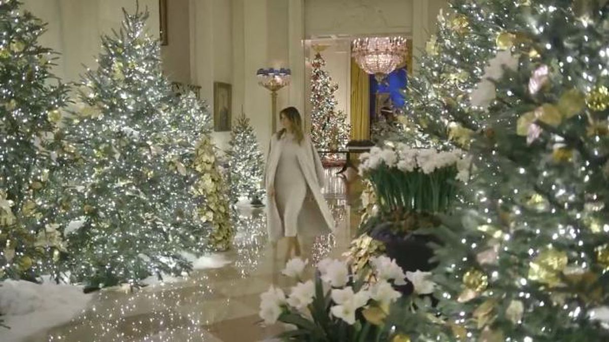 The video shows the first lady walking through the public floor of the White House amid Christmas trees decked out with white lights. (Source: Twitter @FLOTUS/CNN)