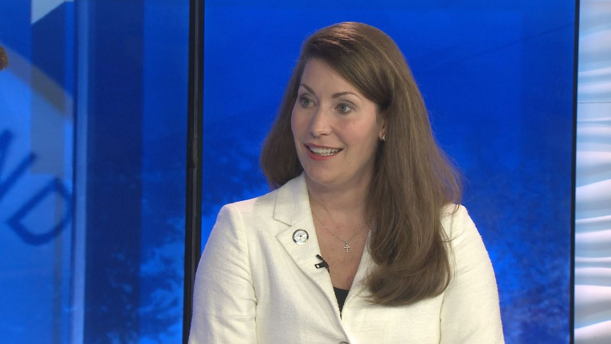 """Secretary of State Alison Lundergan Grimes being interviewed for WKYT's """"Kentucky..."""