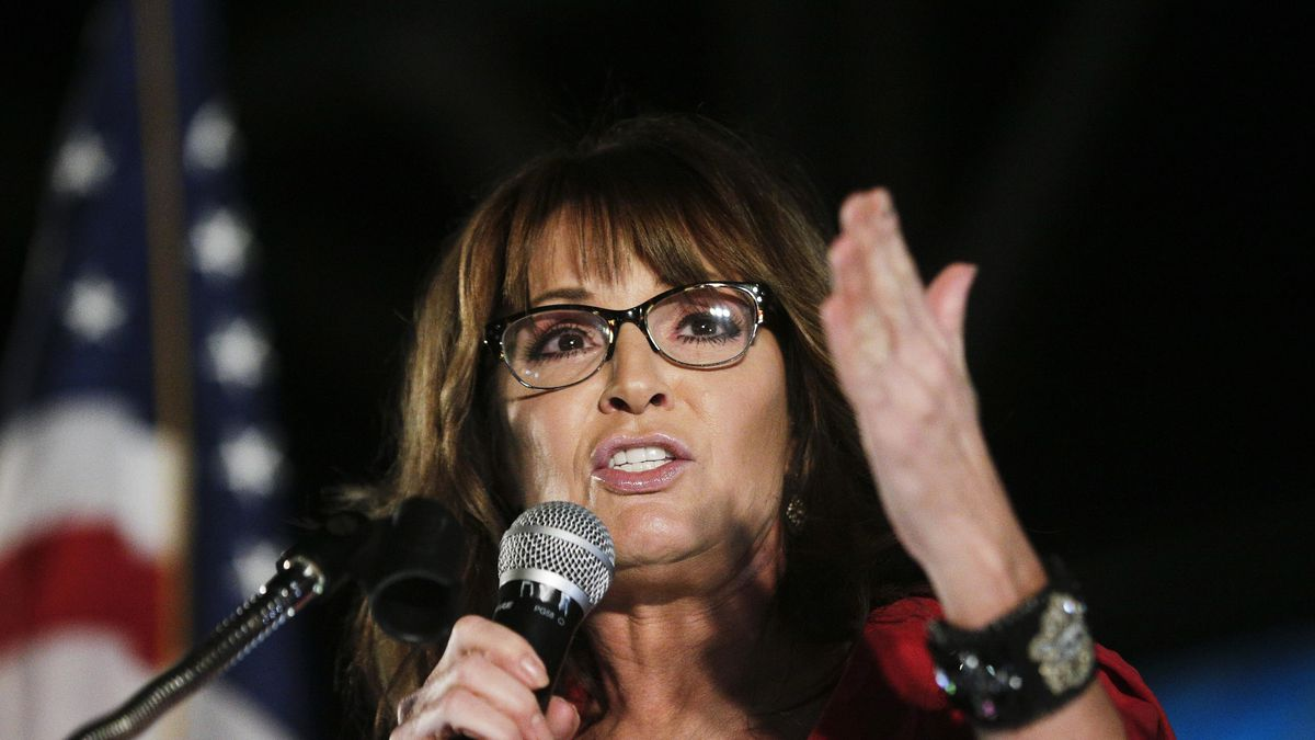 FILE - In this Sept. 21, 2017, file photo, former vice presidential candidate Sarah Palin...