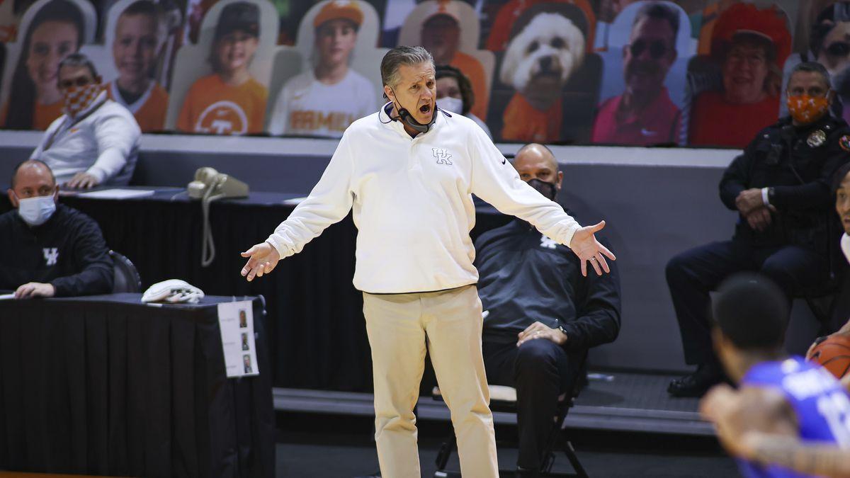 Kentucky head coach John Calipari reacts on the sideline during an NCAA college basketball game...