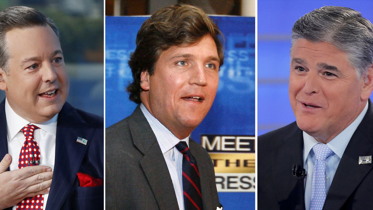 "In this combination photo, Ed Henry, from left, speaks on ""Fox & Friends"" on Sept. 6, 2019, in New York, Tucker Carlson arrives for the 60th anniversary celebration of NBC's Meet the Press on Nov. 17, 2007, in Washington and Sean Hannity interviews Roseanne Barr during a taping of his show on July 26, 2018, in New York."