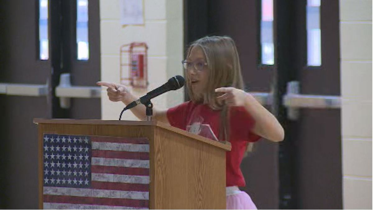 Addison Worley spoke to Kit Carson Elementary about organ donations, something she knows about...