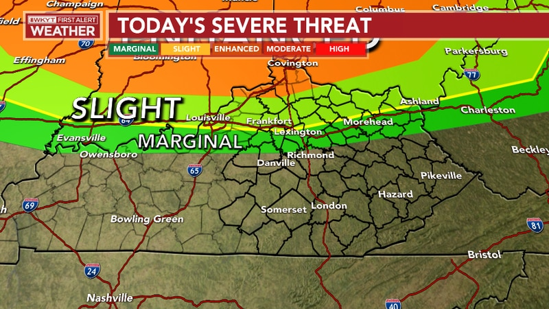 Strong to severe storms will be possible later tonight mainly along and north of the I-64...