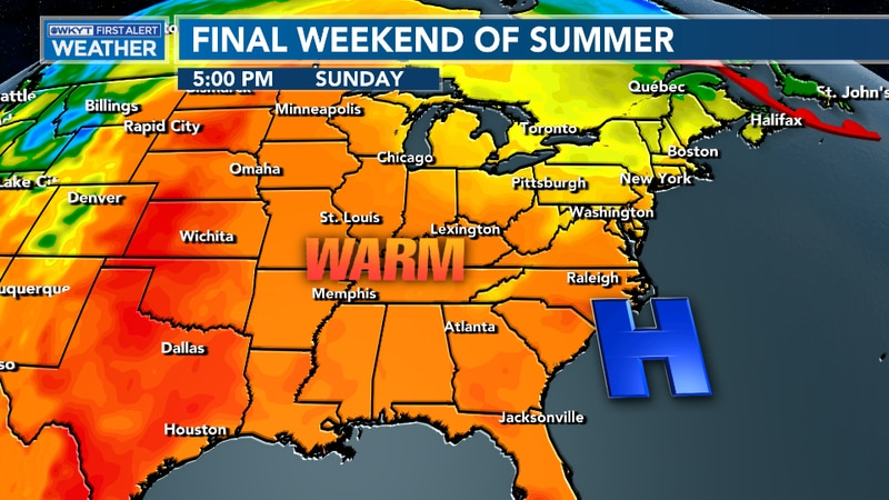 Temperatures remain on the warm side for the final weekend of summer